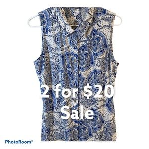 Tommy Hilfiger Blue White sleeveless Top Size L
